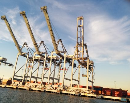 large cranes at a port