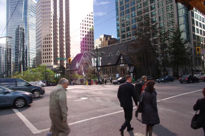 intersection with pedestrians in crosswalk